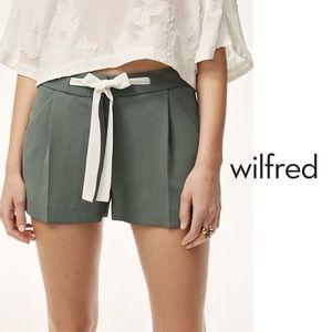 Wilfred Exergue Green Silk Shorts